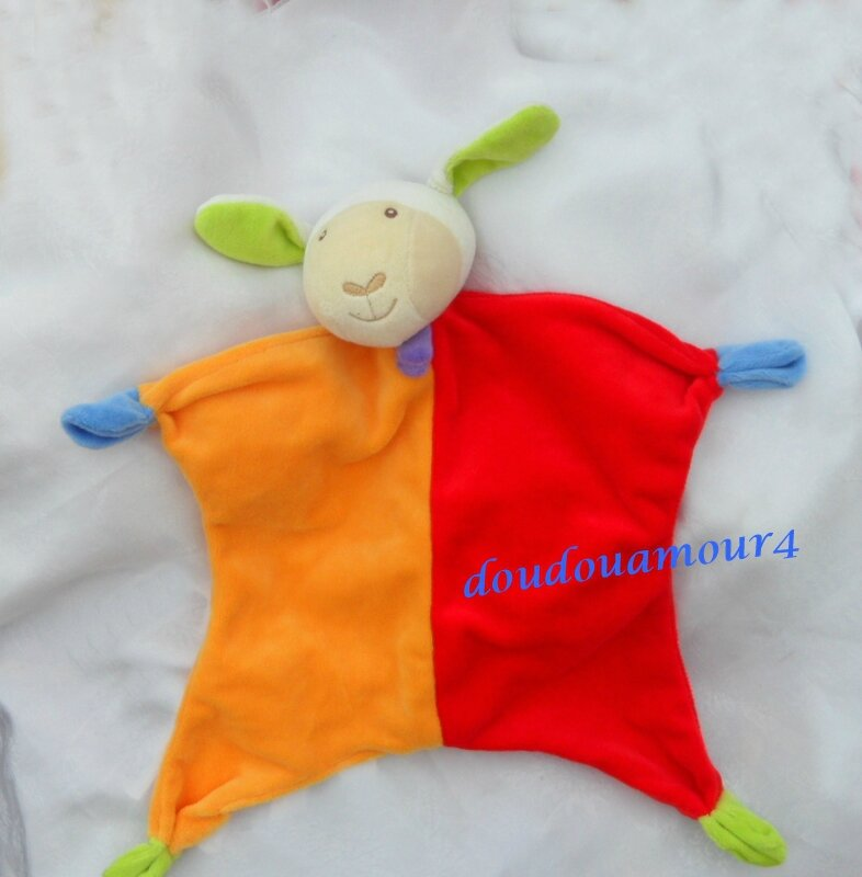Doudou Plat Mouton Paradise Toys Orange Et Rouge