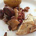 Poulet aux poires, marrons et pommes de terre