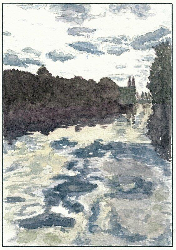 43 Solesmes - Crépuscule sur la Sarthe 1994 08 21