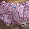 Culotte BIANCA en coton fushia imprimé blanc et turquoise - noeud vichy marine (3)
