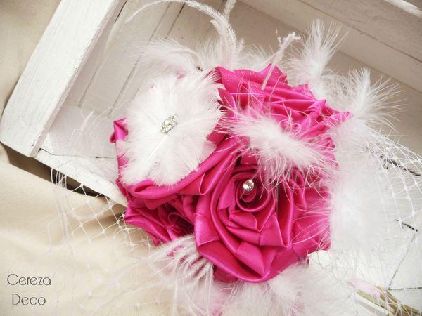 26 janv bouquet mariée cabaret fuchsia blanc strass plumes 9