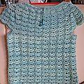 Blouse eau-turquoise de ma création suivant un modèle de point trouvé sur le net