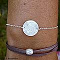 Bracelet Ange en nacre (sur chaîne argent massif fine) - 35 €