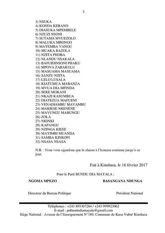 BILAN DES MASSACRES DES ADEPTES DE BDK BDM FEVRIER 2017 ca