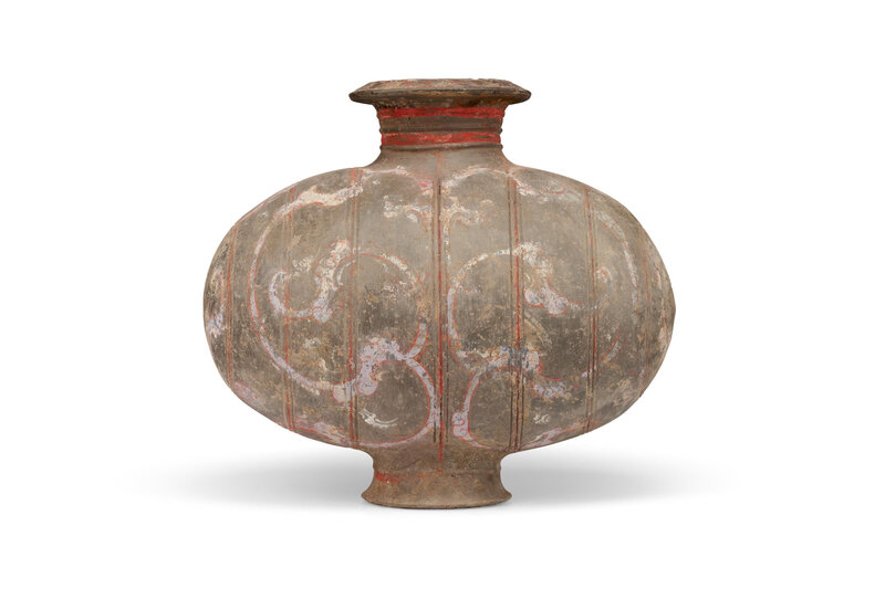 A painted pottery cocoon jar, Han dynasty (206 BC-AD 220)