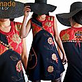 MOD-467A-Robe maille noire rouge Or Graphique Chic dentelle made in France