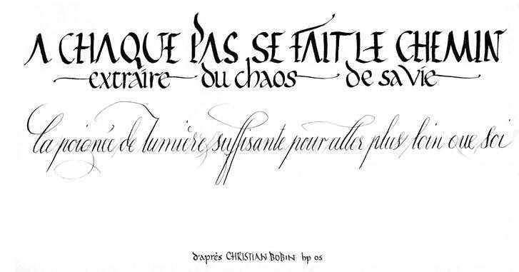 Calligraphie faite pour le centre Assise
