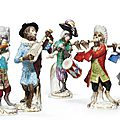 Five meissen monkey band figures, 19th and 20th century