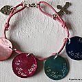 Bracelet de Première Communion sur lien de coton fushia fin