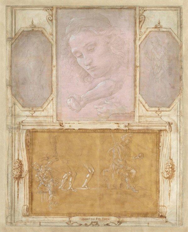 """Filippino Lippi, Sandro Botticelli, and Raffaellino del Garbo, Page from """"Libro de' Disegni,"""""""