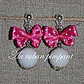 BO perle blanche noeud satin rose à pois blancs - 17 euros