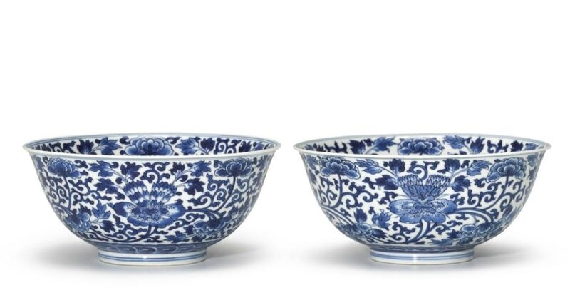 A fine pair of blue and white 'Peony' bowls, marks and period of Kangxi (1662-1722)