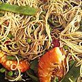 Wok de nouille aux légumes et crevettes
