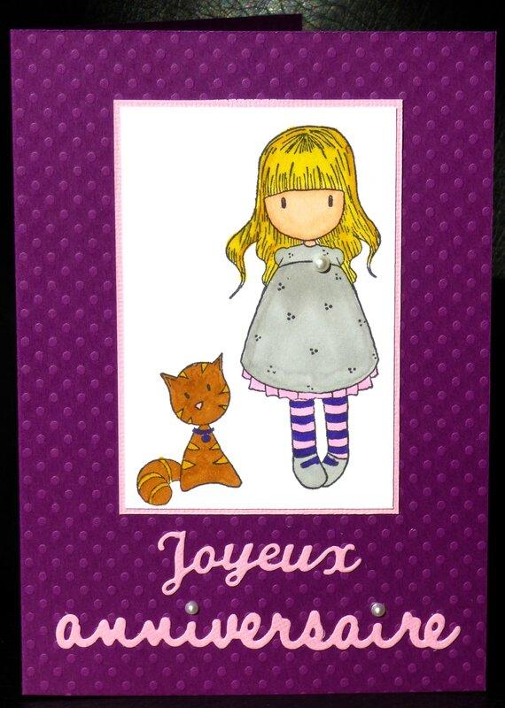 carte d'anniversaire pour fille avec fillette et chat