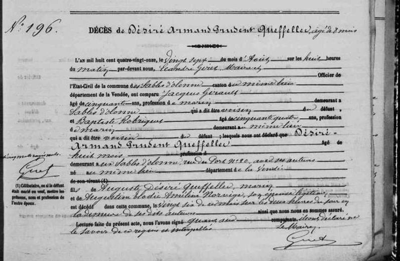 1891 le 22 avril Sables d'Olonne décès Désiré Armand Prudent Queffellec_2