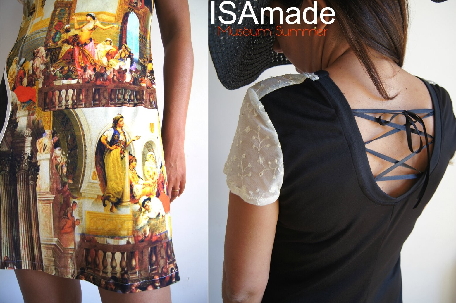 Robe maille Multicolore à Imprimé digital Musée/ tableaux Photos à dentelle crème fleurie & Rubans satins Noirs dos
