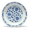 A blue and white 'Lotus' dish, Tongzhi mark and period (1861-1875)