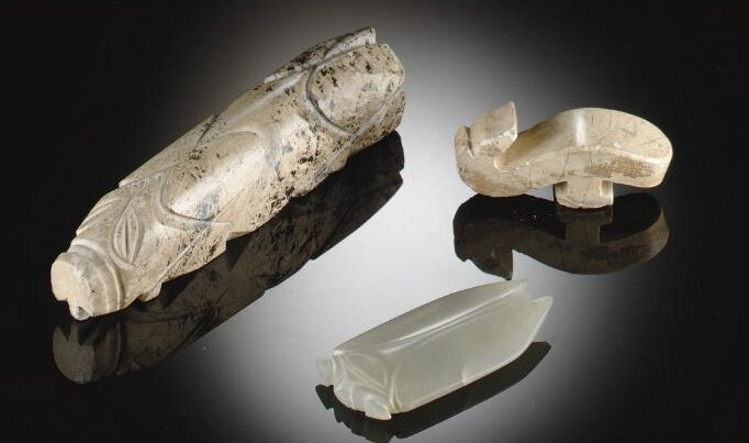 Three early jade carvings, Han dynasty (206 BC-AD 220)