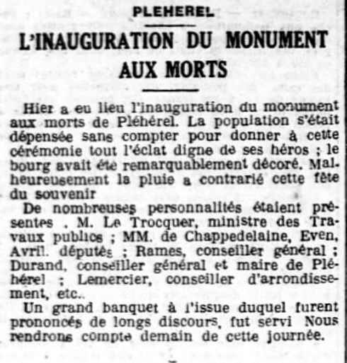inauguration Monum Pléhédel