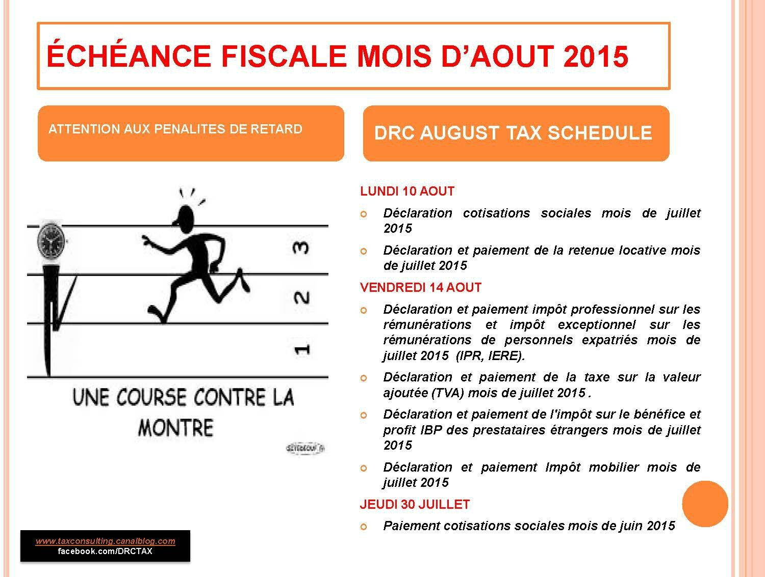 CALENDRIER FISCAL MOIS D'AOUT / AUGUST TAX SCHEDULE
