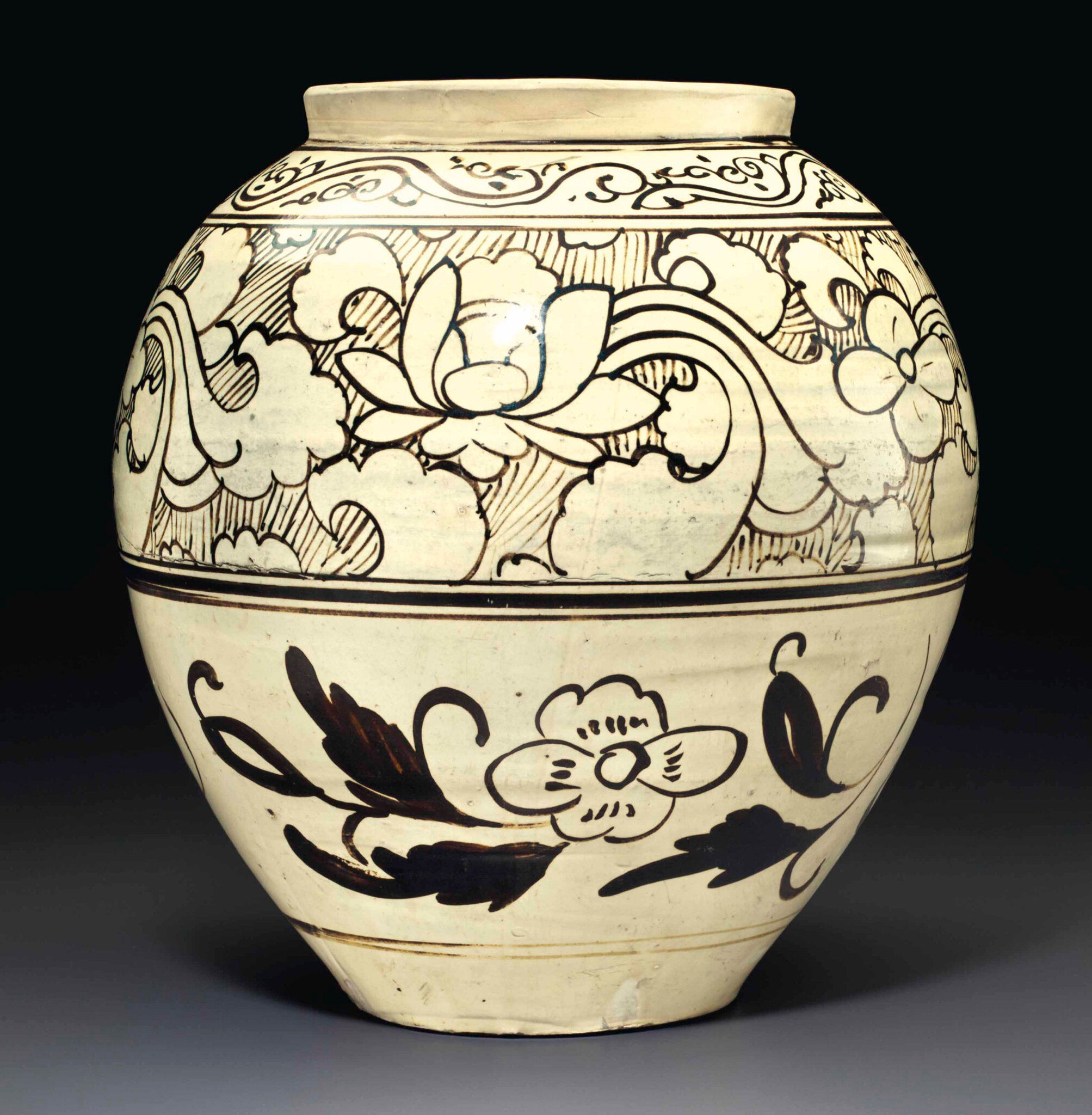 A Cizhou-type painted ovoid jar, Jin-Yuan dynasty, 12th-14th century