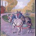 Edouard DOIGNEAU - Couple d'ânes attelés au bord du Loing