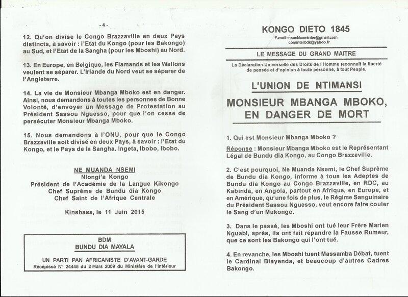 MONSIEUR MBANGA MBOKO EN DANGER DE MORT a