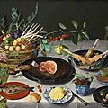 Jacob van hulsdonck, still life with artichokes, radishes, asparagus, plums, cherries and peaches in a basket, ...