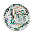 A large famille verte 'romance of the western chamber' saucer-dish, kangxi period (1662-1722)