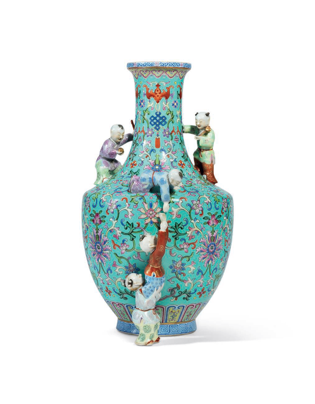 A turquoise-groundfamille rose'five boys' vase, Qianlong six-character seal mark in iron-red and of the period (1736-1795)