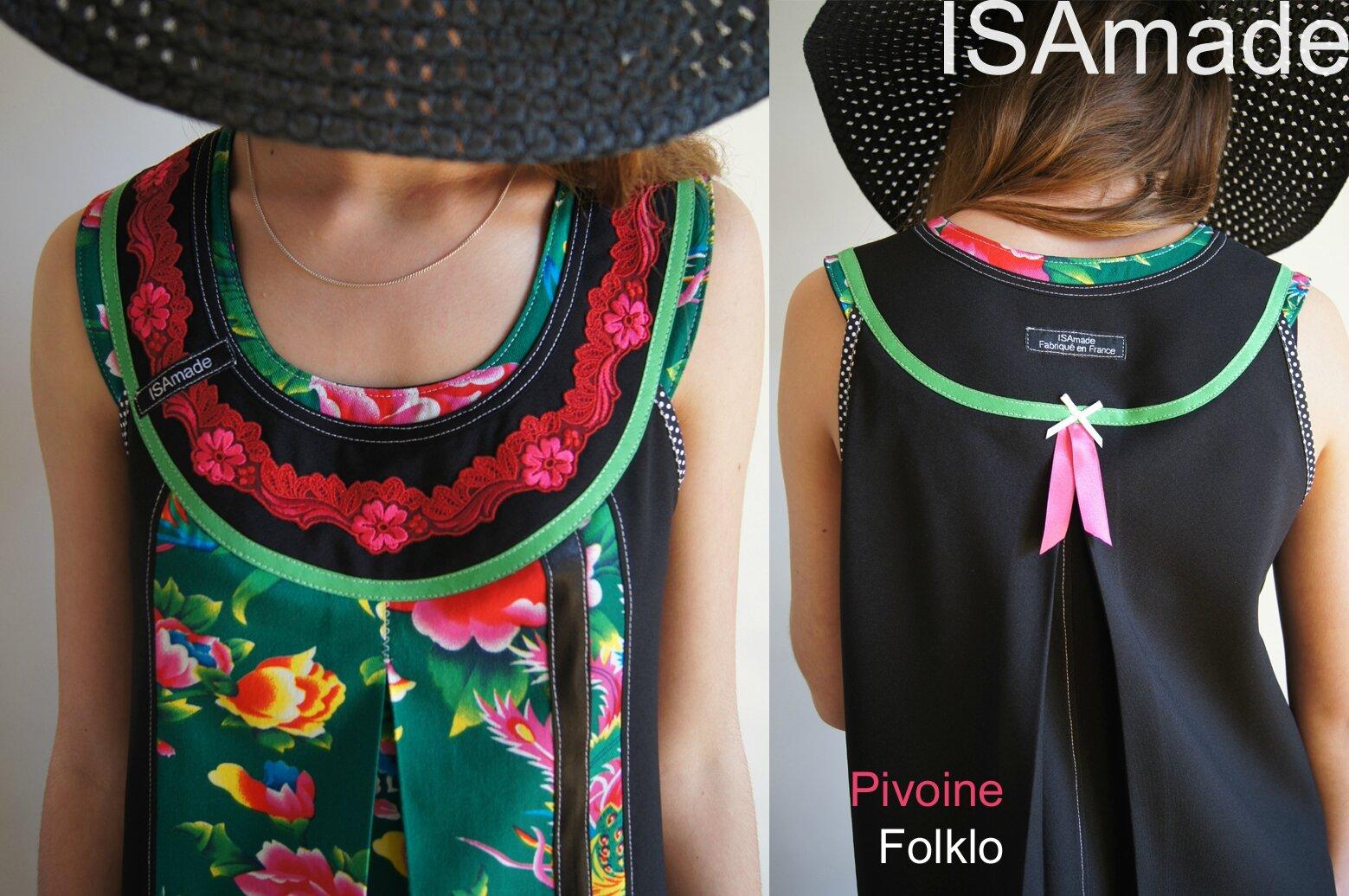 Robe trapèze Imprimé Fleuri Chinois Vert/ rose