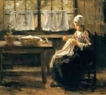 Jozef Israels Young Girl Sewing