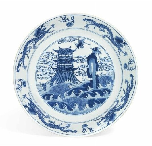 A large blue and white 'Dragon and Crane' dish, Early Kangxi period, circa 1670