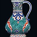 A large iznik pottery jug, ottoman turkey, circa 1580