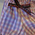 Culotte en coton et lycra à carreaux rose et parme et noeud assorti - taille S (2)