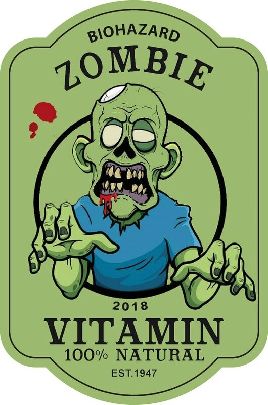 label zombie vitamin halloween virus
