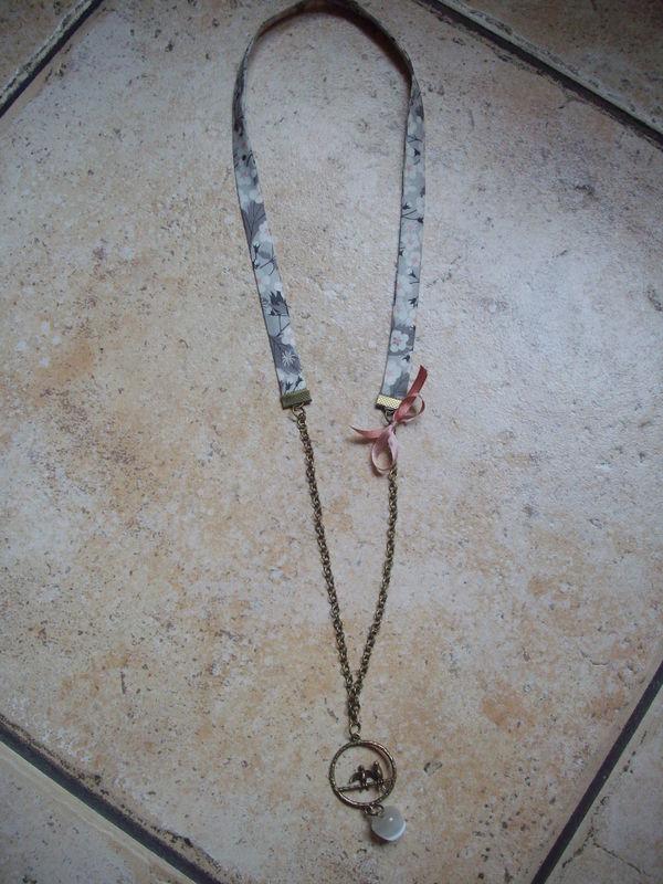 Sautoir Liberty gris/rose
