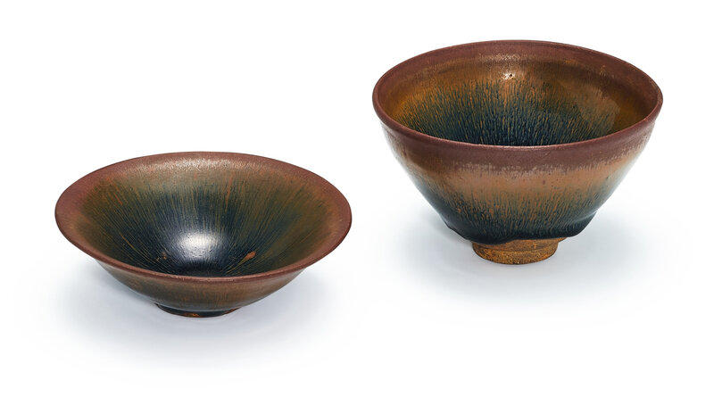 Two Jian 'hare's fur' bowls, Song dynasty (960-1279)