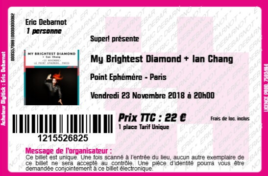 2018 11 23 My Brightest Diamond Point Ephémère Billet