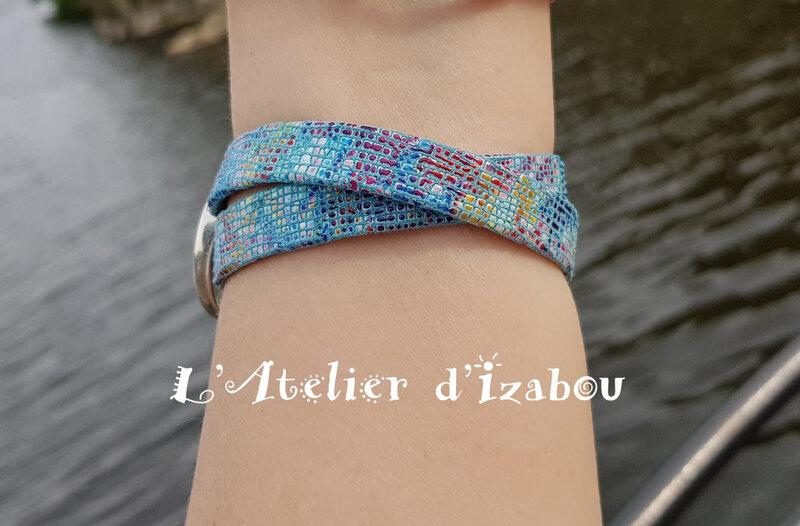 Bracelet cuir mozaïque et fermoir toggle rond