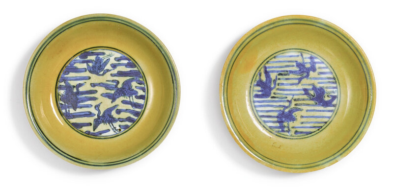 A pair of underglaze-blue and yellow-enameled 'crane' dishes, Jiajing marks and period (1522-1566)
