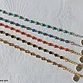 Bracelet Kibrille (turquoise, bleu lagon, orange, bleu nuit et champagne) - 25 €