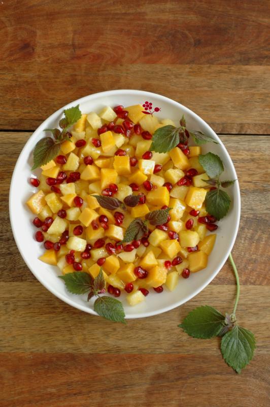 Salade de fruits ananas, mangue, grenade, jus de limequat & shiso_1