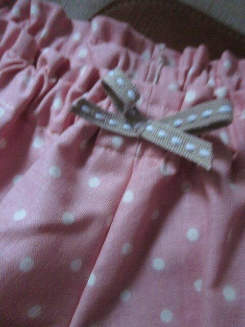 Culotte BIANCA en coton imprimé rose à pois - dos imprimé et uni écru - Noeud beige (3)