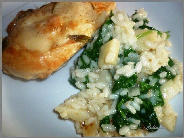poulet romarin risotto céleri epinards 02