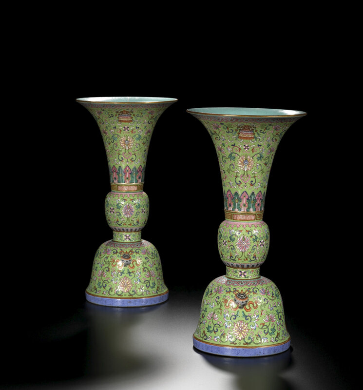 A pair of lime-green ground famille-rose vases, gu, seal marks and period of Daoguang (1821-1850)