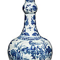 A blue and white 'figural' garlic-neck bottle vase, ming dynasty, chongzhen period (1628-1644)