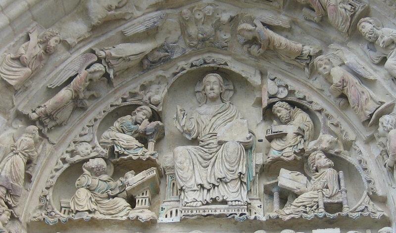 Christ, tympan de la basilique de Saint-Benoît