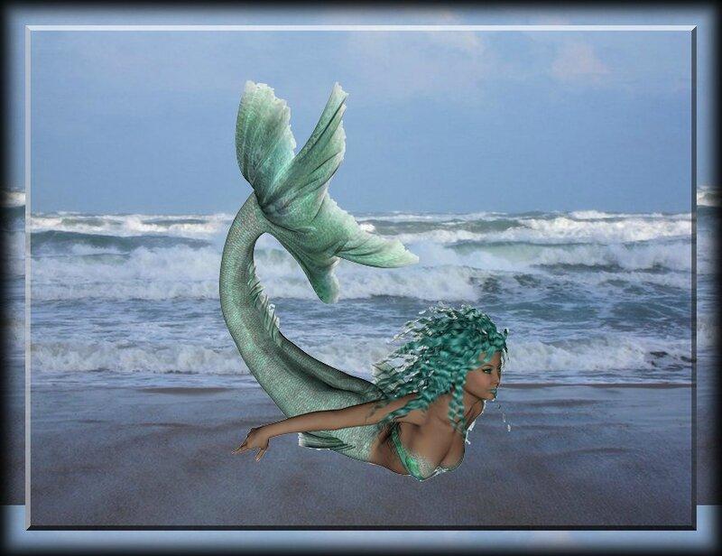 sirene cheveux verts