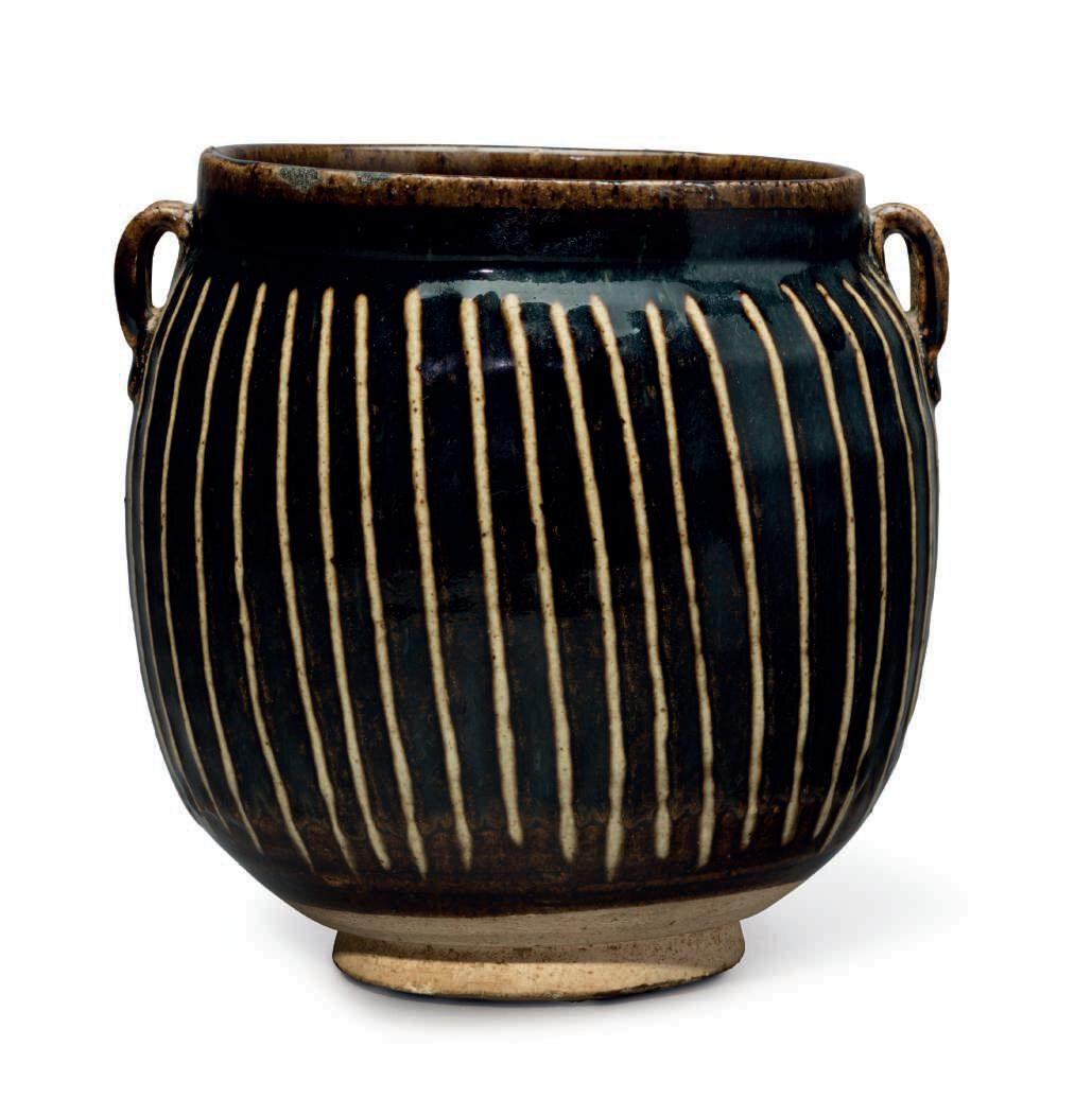 A black-glazed ribbed jar, China, Jin dynasty (1115-1234)